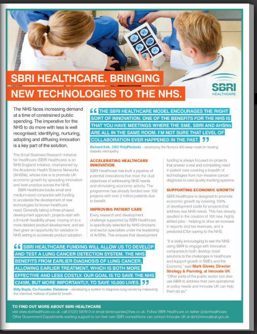 SBRI Healthcare featured in the latest edition of Modern Gov, page 113